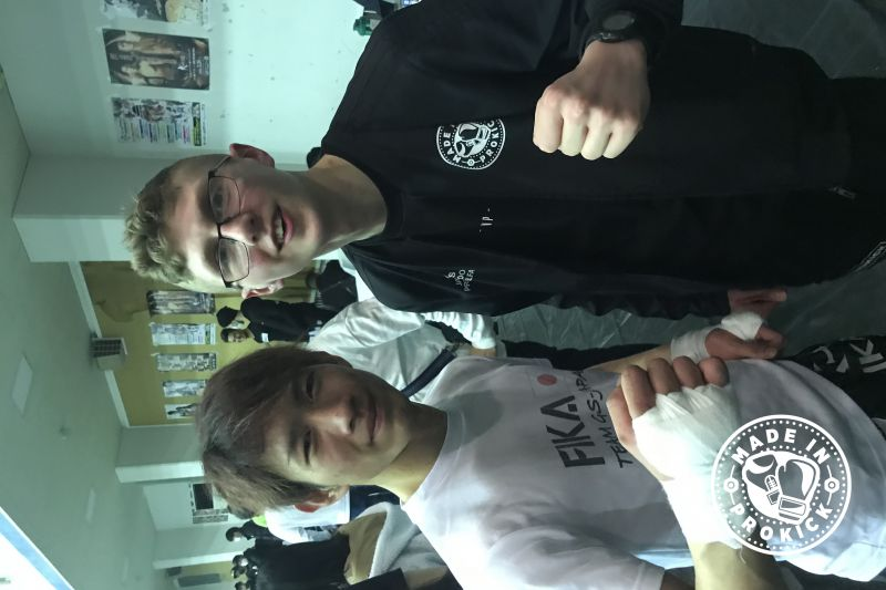 Jay Snoddon with former K1 opponent and New 60kg All Japan Champion, Ryuki Yamamoto