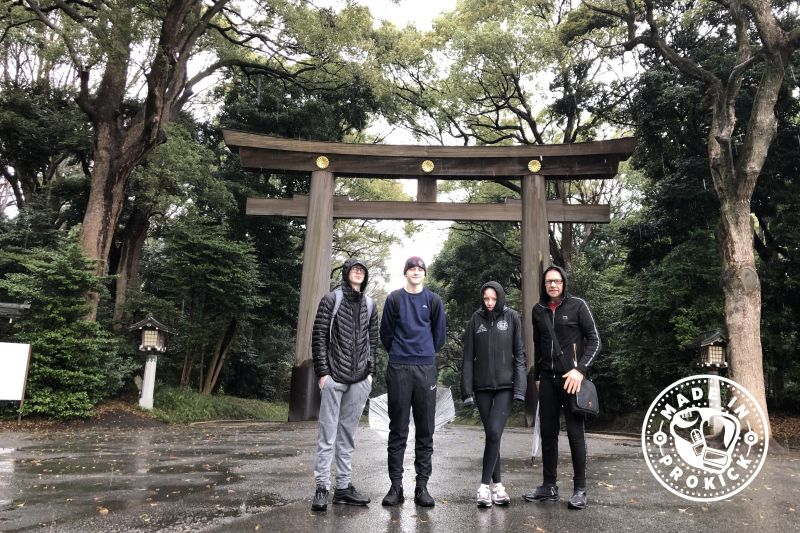 The team at Yoyogi Park is a park in Yoyogikamizonocho, Shibuya, Tokyo, Japan, located adjacent to Harajuku Station and Meiji Shrine.