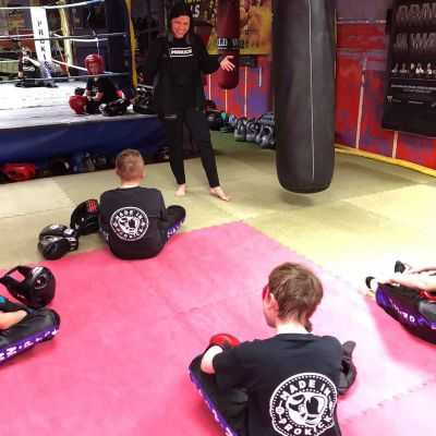 Coach Karren helps out at the new Sparring class Jan 12th 2018