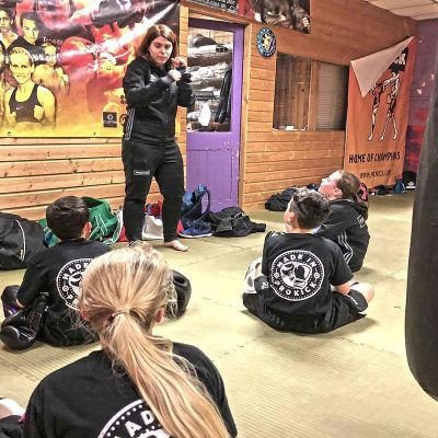 Coach Kathryn has a word with her team at the Sparring class Jan 12th 2018