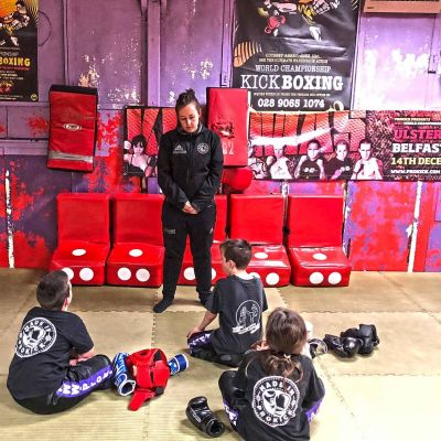 Coach Ruth talks with a group at the Sparring class Jan 12th 2018