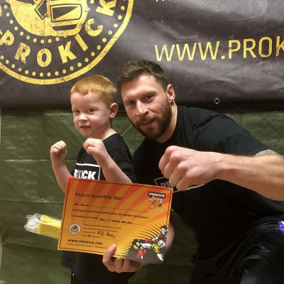 That's my boy - young Leo Smith get the title for the youngest ever at ProKick to grade to Yellow belt at four years of age.