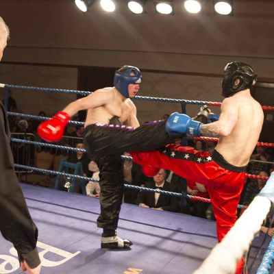 David lands a Front Kick to Wayne Bell at the Stormont Hotel on Feb 17th 2018