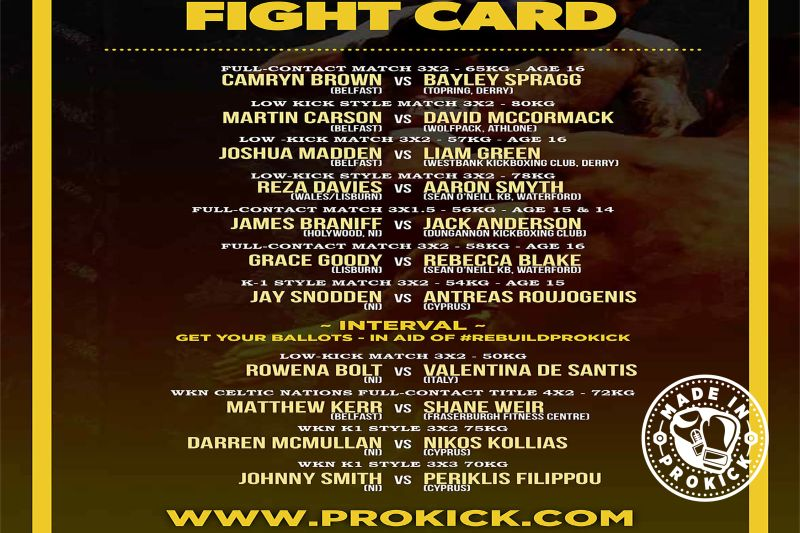 Here's the final Fight-Card for Sunday afternoon at the Clayton Hotel