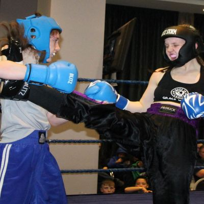 Grace throws a front kick at Rebecca Blake at the Clayton hotel in Belfast