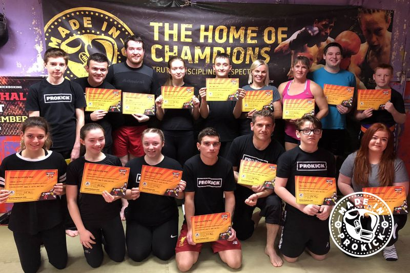 Saturday 22nd September saw ProKick beginners graduate by moving up a level on the kickboxing ladder of excellence.