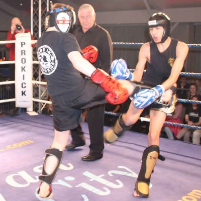 James Braniff Lands a kick on Krill Eagan (Wolfpack, Athlone ROI) at the Stormont Hotel international kickboxing event in Belfast