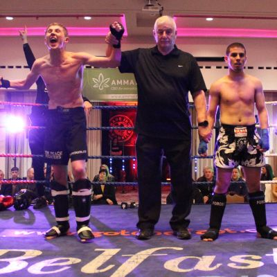 Jay Snoddon got the nod - After the final bell, Jay's hand was raised in victory and he celebrated with as much vigour as he had fought!
