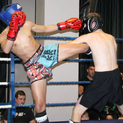 Norwak kicks the body in a light-contact match at the Stormont Hotel