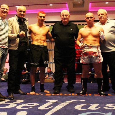 Killian Emery pictured with his Dad Carl & WKN president and Shane Weir and coach Albert Ross during their kickboxing match at the Stormont hotel Saturday 23rd FEB 2019