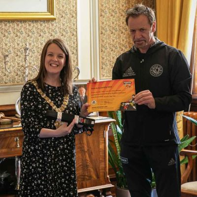 The Lord Mayor of Belfast was presented with an honouree ProKick Black Belt from Billy Murray