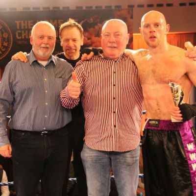 L-R event sponsor Mr Gary Withers from Peninsula Print, Billy Murray Matthew Kerr's Dad and winner Matthew Kerr