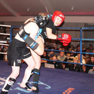 'Just missed'....Maura Papadopoulou from Cyprus kicks out against Grace Goody at the Stormont hotel