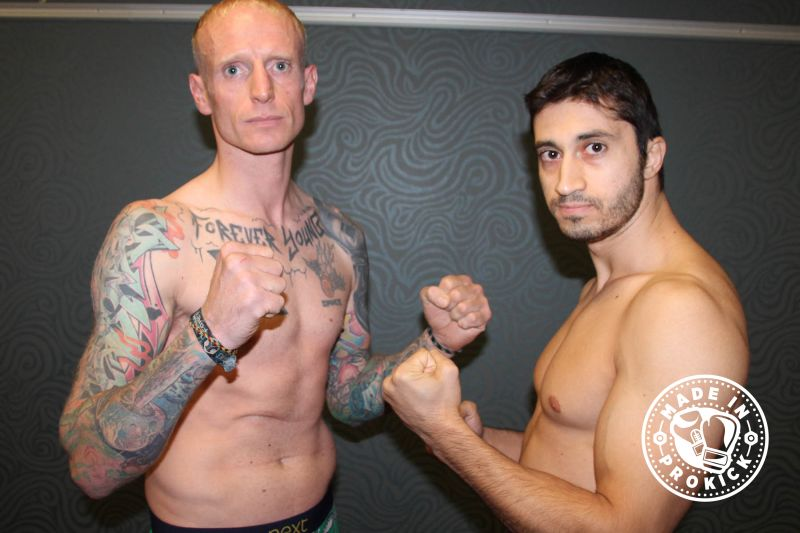 Darren McMullan (Ballygowan,NI) and Nikos Kollias (Cyprus) came in light for the scheduled WKN K1 Style match-up over 3x2 and set at 75kg. McMullan hit the scales first and was just under at 74.2 with Kollias coming in at 73.6kg.
