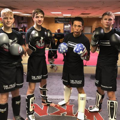 Hiro with 'Triple J' James, Joshua & Jay after a sparring session