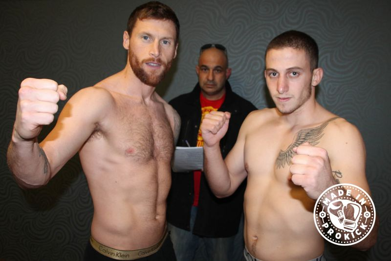 Top of the bill #JohnnySwiftSmith from Bangor and his opponent Periklis Filippou of (Cyprus) came in exactly the same weight 69.8kg for their WKN K1 Style Pro bout over 3x3 min rounds.