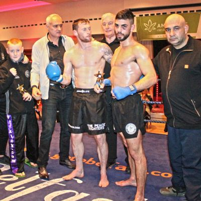 Strike a pose - SwiftSmith and team right after his victory against Christos Venizelou (Cyprus) At the Stormont Hotel Saturday 23rd Feb 2019
