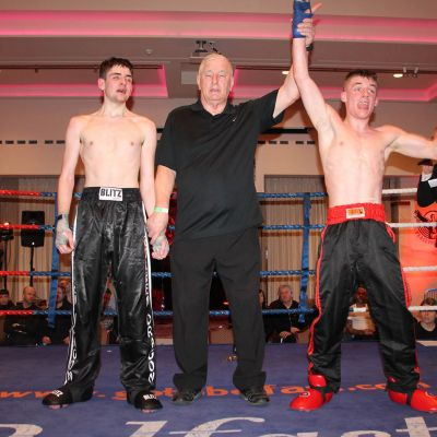 A Happy Jack Molloy Wins over Micheal McKay at the Stormont hotel in Belfast at Billy Murray's ProKick event.