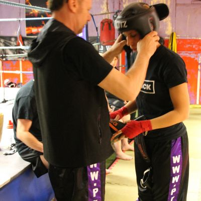 fixing the head guard before sparring