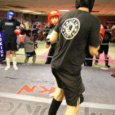Mark Cairnduff in Sparring action
