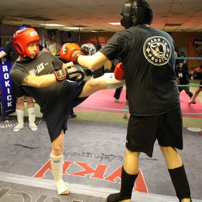 kickboxing sparring action with Mark Cairnduff