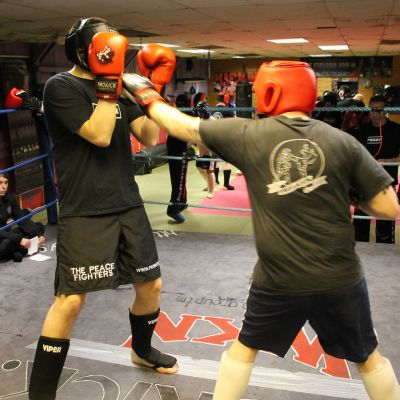 Mark fires a left jab at Gary in Sparring