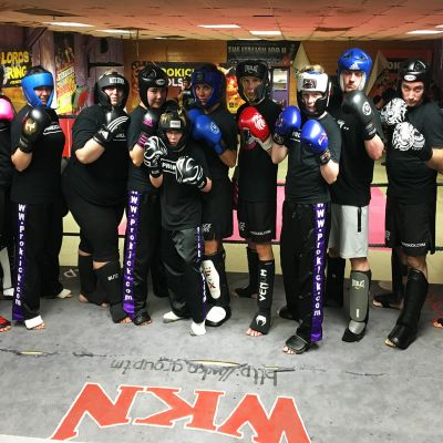 Beginners Sparring Group after finishing sparring in the ring