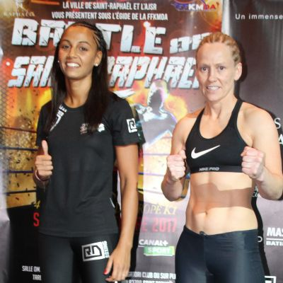 Cathy McAleer came face-face with multi world champ Amel Dehby of France at the weigh-ins
