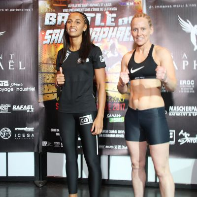 Two Champions come together at the weigh-ins for the Battle of Saint Raphael 5