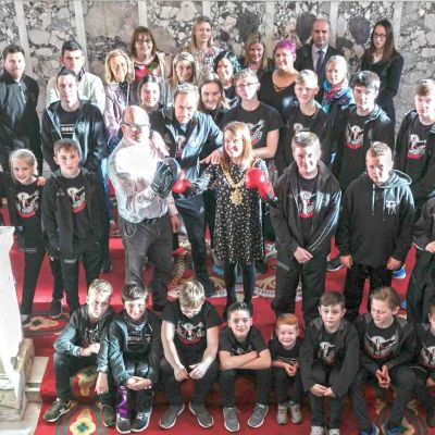 Belfast City Hall Visit for ProKick PeaceFighters - the evening finished off with the traditional group picture on the Grand staircase.
