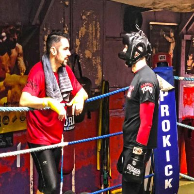 Corner Work Tony gives advise to Rafa whilst sparring at the ProKick Gym