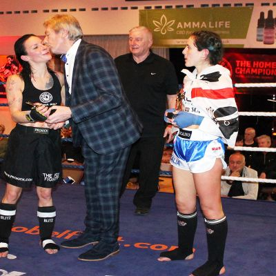 Daddy's Girl Rowena 'Lightning' Bolt after her win over Italian Maura Scano in a low-kick style match.