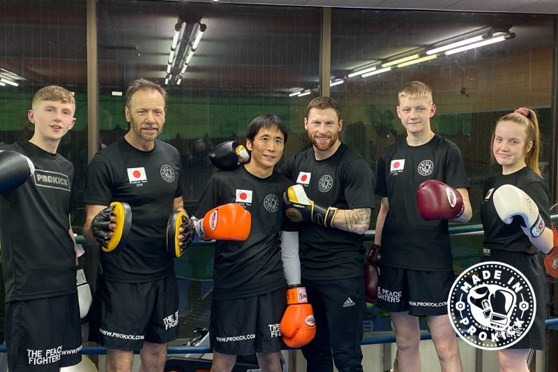 The team training at Prokick Gym in Kumamoto