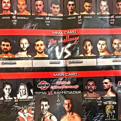 Fight Card for Genoa Italy on the 19th NOV 2017