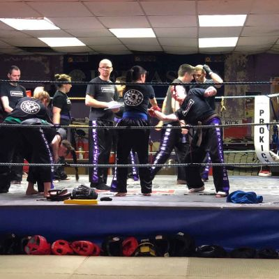 Self-Defence drills - ProKick Seniors working in the ring @ the HQ