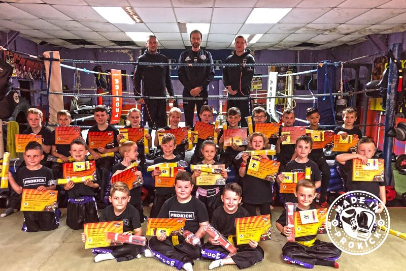 ProKick junior Kickboxing enthusiasts tested. Just two levels from beginner to yellow & yellow to orange belt levels were tested today SUNDAY 15th September 2019