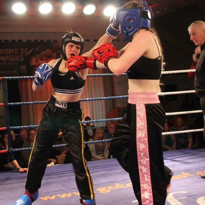 Jade Molloy shoots a good Jab during their jnr Irish title  match-up