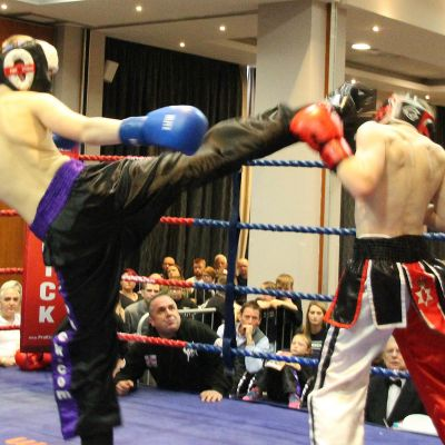 James fires a High round kick to the head of Jack Anderson at the Clayton hotel