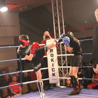 Jay kicks high in a light-contact match at the Stormont Hotel