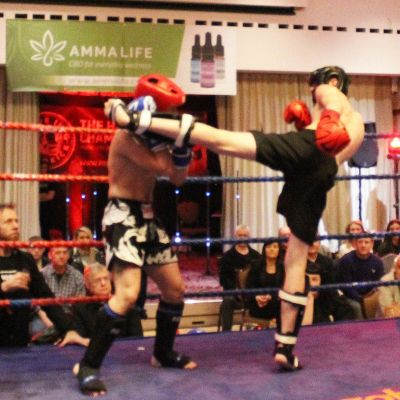 Jay throws a high kick Kicks to Charalambous at the Stormont hotel in Belfast 23rd FEB 2019