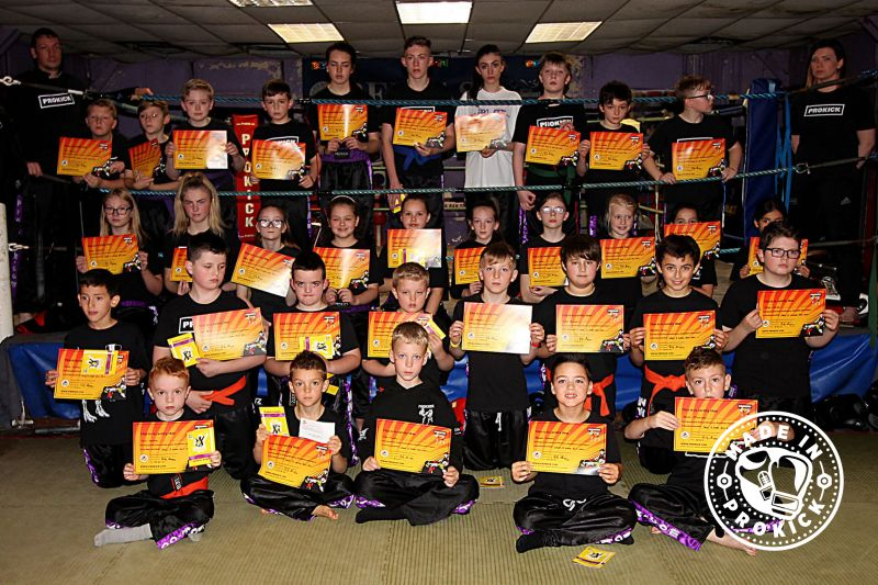 Kids ProKick kickboxing group after their grading
