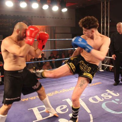 Jerome Kilbride Lands a hard Low Kick to Vasil Ivanov at the Stormont hotel