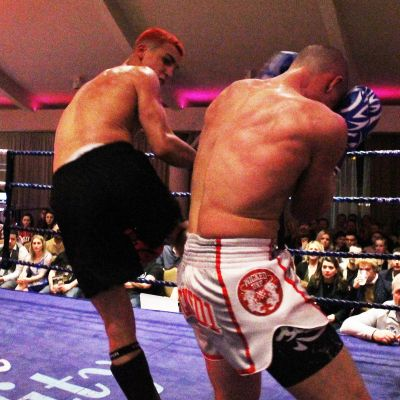 Another back kick that sealed the match for Killian Emery against Shane Weir during their kickboxing match at the Stormont hotel Saturday 23rd FEB 2019