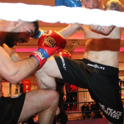 Knee Kick by Johnny Smith at the Stormont Hotel Saturday 23rd Feb 2019 when he faced Christos Venizelou (Cyprus)