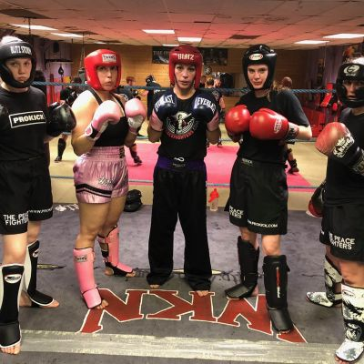 Four Lady-Killers training hard at the Wednesday 30th May sparring class at the ProKick Gym