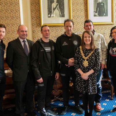 Meeting The Lord Mayor for tea in the famous parlour of the Belfast City Hall