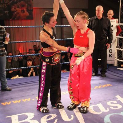 Respect - kerry placed the belt around Rowena and declared the New Irish champion, Rowena