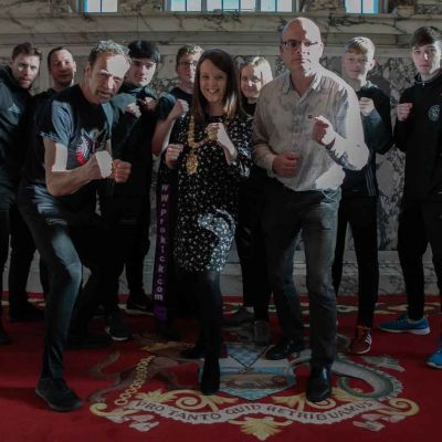 ProKick's Young fight team met the Lord Mayor and Cllr Armitage