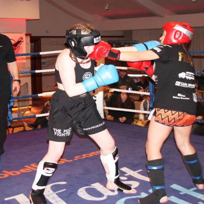 Punch exchange - girl power theme, teenager Grace Goody competed in her first K1 style bout against Cyprus' Papadopoulou.