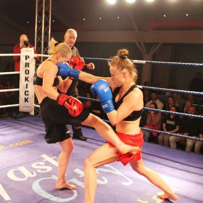 Cathy McAleer last a low-kick Punches Polish champion Ciaskowska lands a right hand counter at the Stormont Hotel